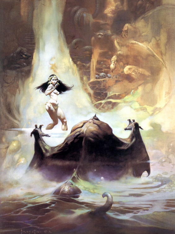At The Earth's Core - Frank Frazetta cover illustration