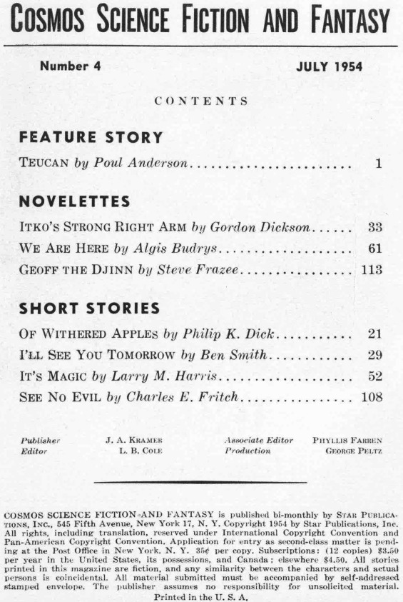 Cosmos Science Fiction And Fantasy, July 1954 table of contents (includes Of Withered Apples by Philip K. Dick)