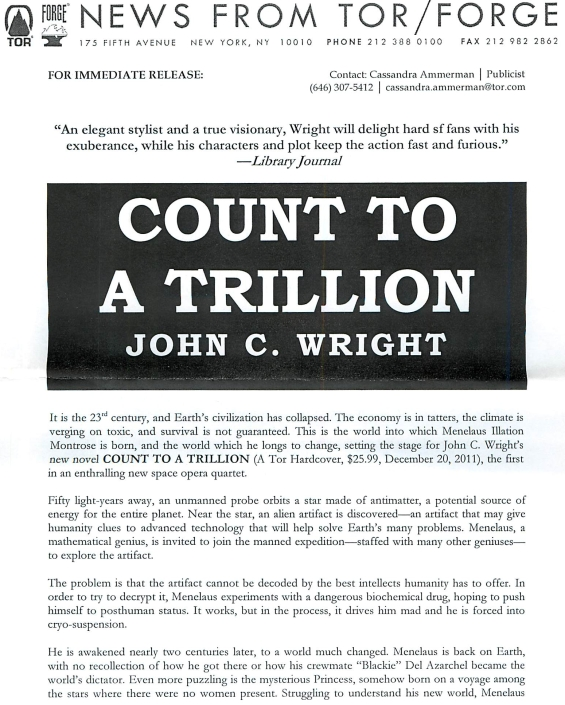 Count To A Trillion by John C. Wright PRESS RELEASE 1