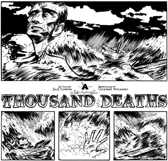 A snippet of Courtney Billadeau's illustration of Jack London's A Thousand Deaths