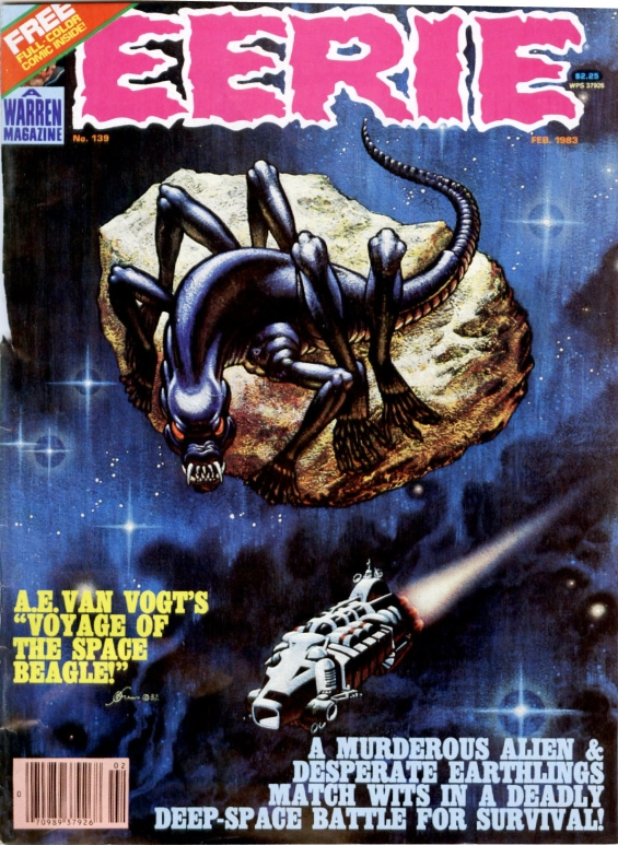 EERIE, February 1983 - adaptation of The Voyage Of The Space Beagle - cover art by Kelly Freas