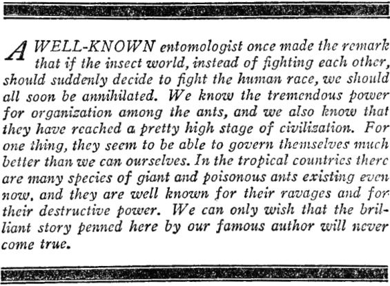 Editorial introduction to The Empire Of The Ants by H.G. Wells - from Amazing Stories, August 1926