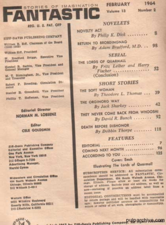 Fantastic, February 1964 table of contents (includes Novelty Act by Philip K. Dick)