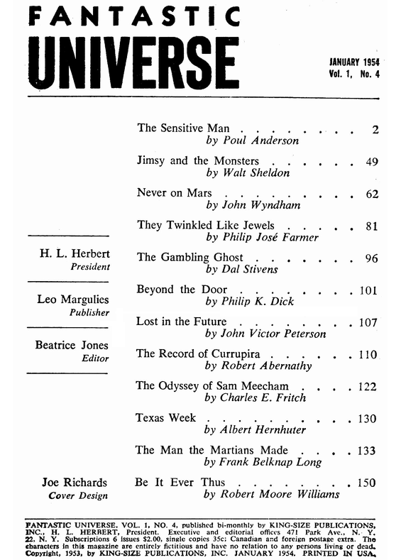 Fantastic Universe, January 1954 - table of contents (includes Beyond The Door by Philip K. Dick)