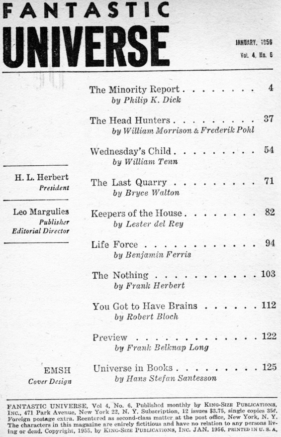 Fantastic Universe, January 1956 - table of contents (includes The Minority Report by Philip K. Dick)