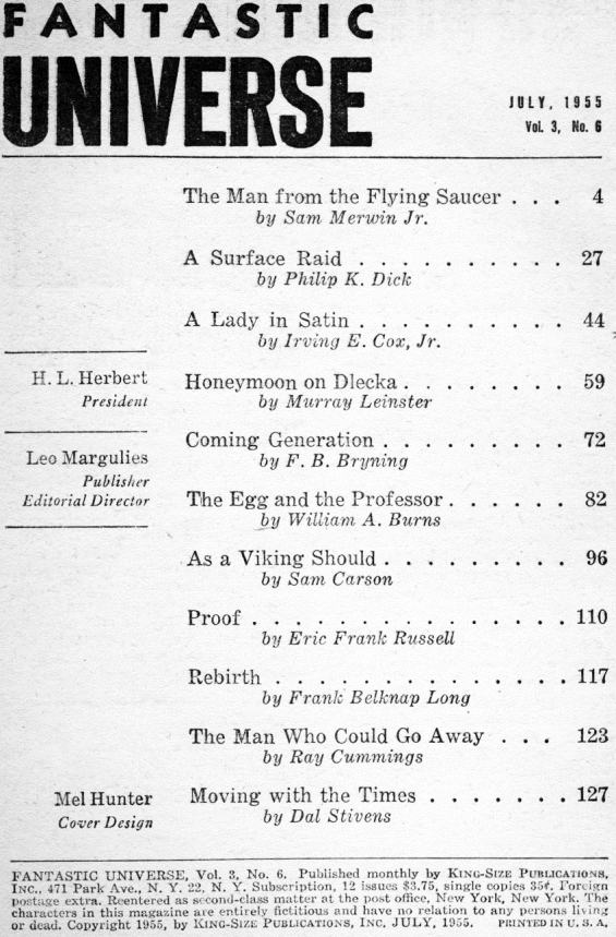 Fantastic Universe, July 1955 - table of contents (includes A Surface Raid by Philip K. Dick)