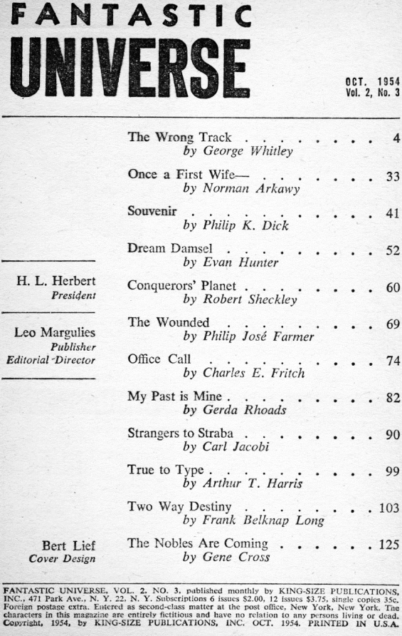 Fantastic Universe, October 1954 table of contents (includes Souvenir by Philip K. Dick