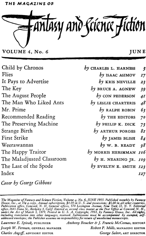 Fantasy & Science Fiction, June 1953 - table of contents (includes The Preserving Machine by Philip K. Dick)