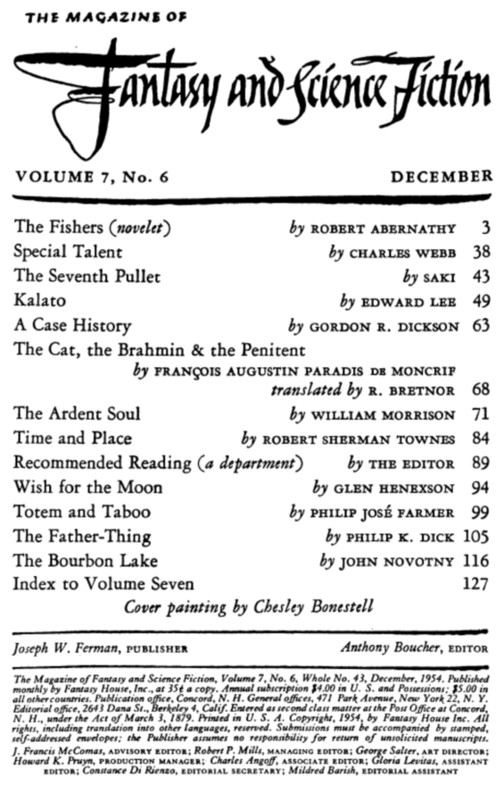 Fantasy & Science Fiction, December 1954 - table of contents (includes The Father-Thing by Philip K. Dick)