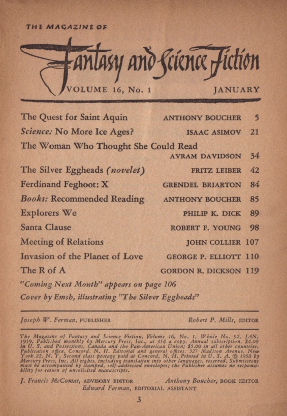 Fantasy & Science Fiction, January 1959 - table of contents (includes Explorers We by Philip K. Dick)