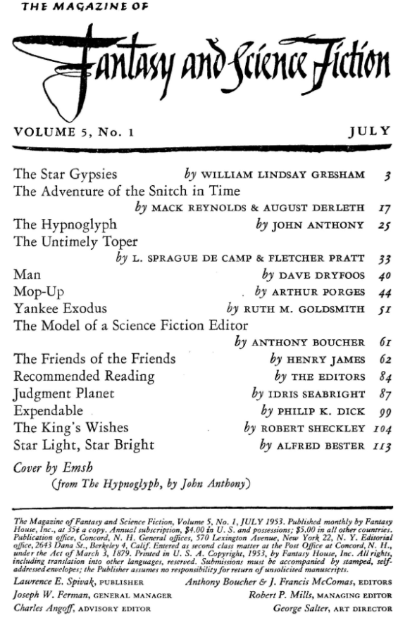 Fantasy & Science Fiction, July 1953 - table of contents (includes Expendable by Philip K. Dick)
