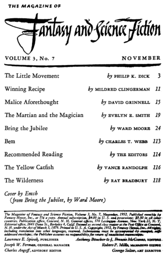 Fantasy & Science Fiction, November 1952 - table of contents (includes The Little Movement by Philip K. Dick)
