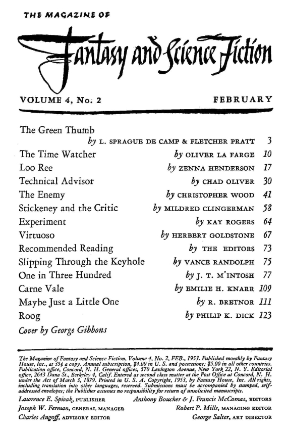 Fantasy & Science Fiction, February 1953 -Table of contents (includes Roog by Philip K. Dick)