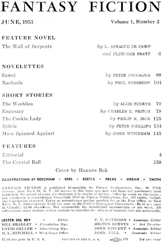 Fantasy Fiction, June 1953 - table of contents (includes The Cookie Lady by Philip K. Dick)