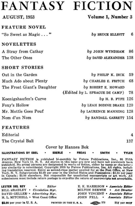 Fantasy Fiction, August 1953 - Table of contents (includes Out In The Garden by Philip K. Dick)