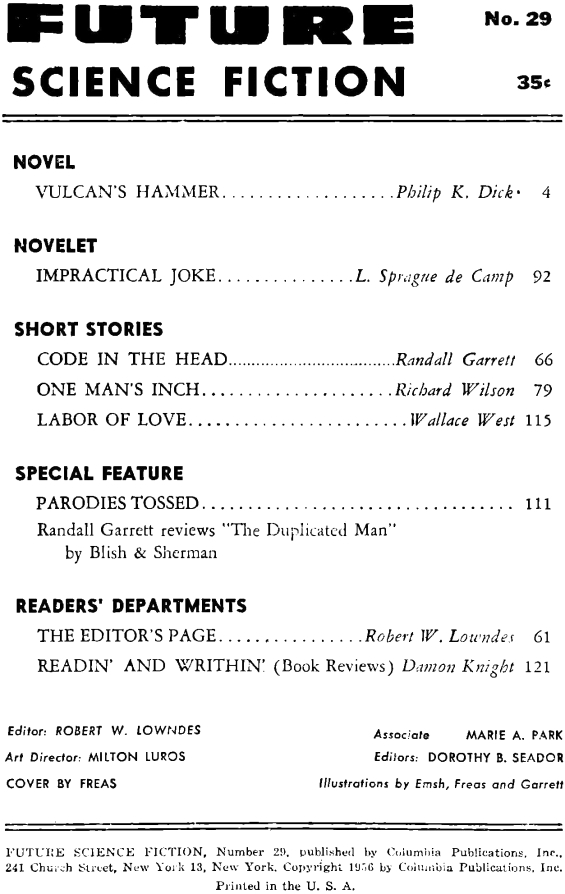 Future Science Fiction No. 29 (1956) - table of contents (includes Vulcan's Hammer by Philip K. Dick)