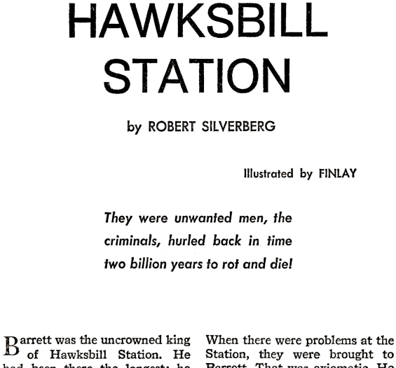 Galaxy August 1967 page 8 (Hawksbill Station by Robert Silverberg)