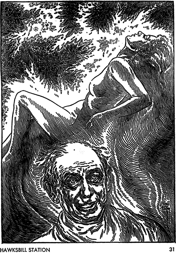 Galaxy August 1967 page 31 - illustration by Virgil Finlay