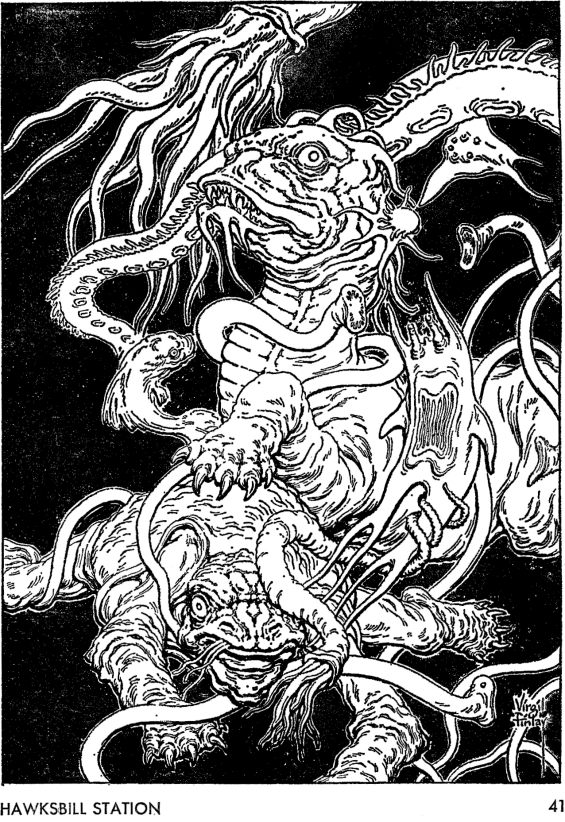 Galaxy August 1967 page 41 - illustration by Virgil Finlay