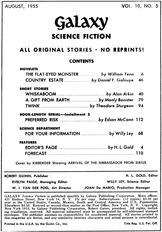 Galaxy, August 1955 - table of contents (note that it DOES NOT include A World Of Talent by Philip K. Dick)
