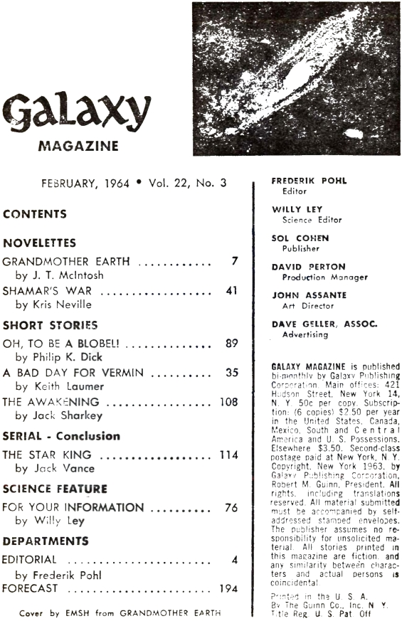 Galaxy, February 1964 - Table of contents (Oh To Be A Blobel by Philip K. Dick)