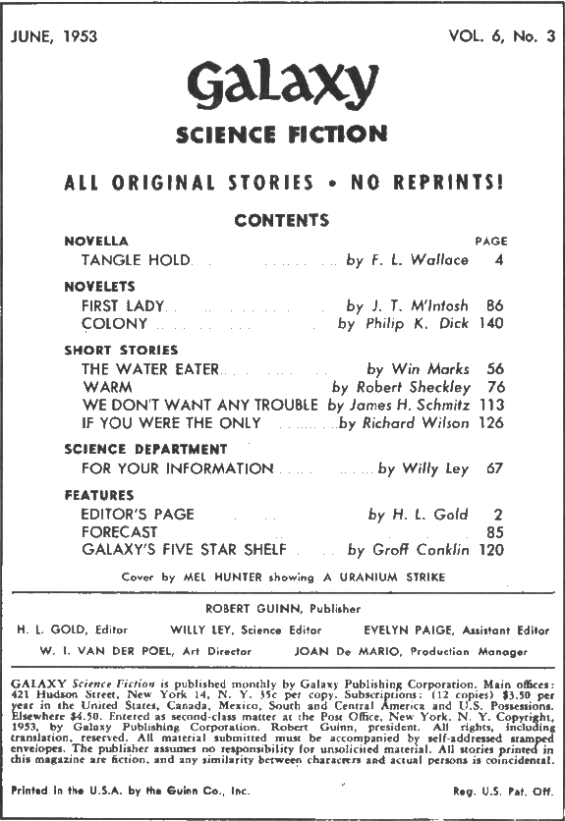 Galaxy Science Fiction, June 1953 - Table of contents (includes Colony by Philip K. Dick)