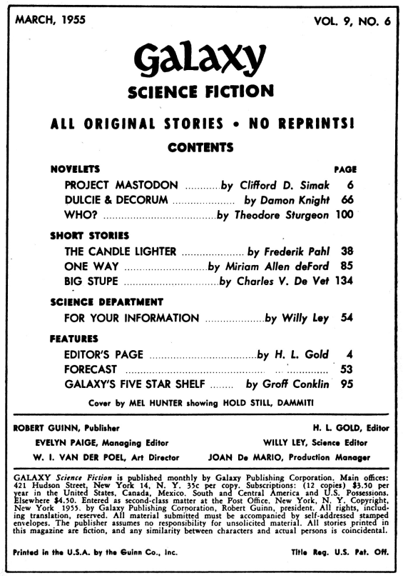 Galaxy Science Fiction, March 1955 table of contents