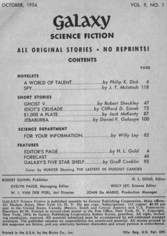 Galaxy Science Fiction, October 1954 - Table of contents (includes A World Of Talent by Philip K. Dick))