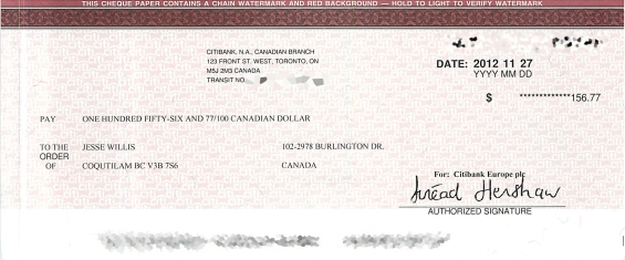 Google AdSense Cheque - September/October 2012