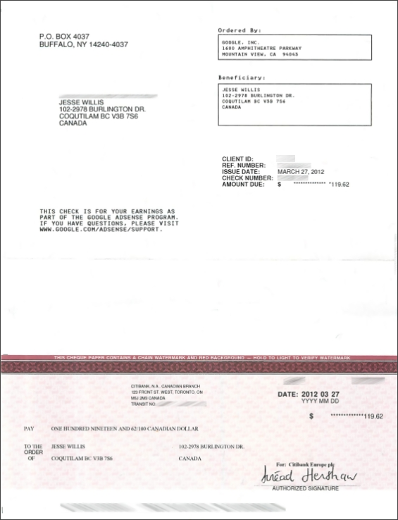 Google AdSense cheque for January and February 2012