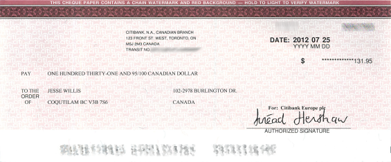 Google Adsense cheque for May and June 2012