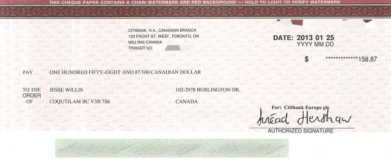 Google AdSense cheque for November December 2012