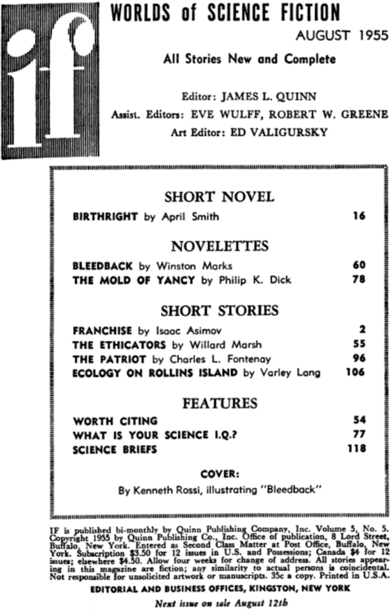 If, August 1955 - Table Of Contents - (includes The Mold Of Yancy by Philip K. Dick)