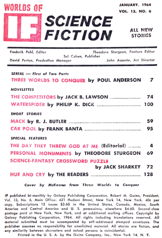 If, January 1954 - table of contents (includes Waterspider by Philip K. Dick)