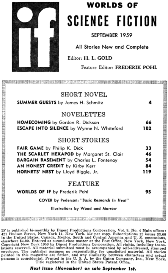 If, September 1959 - table of contents (includes Fair Game by Philip K. Dick)