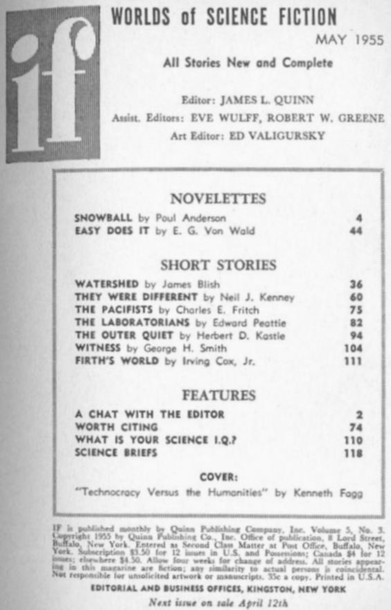 If Worlds Of Science Fiction, May 1955 - table of contents