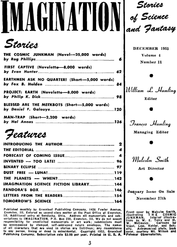 Imagination, December 1953 - Table of contents (includes Project: EARTH by Philip K. Dick)