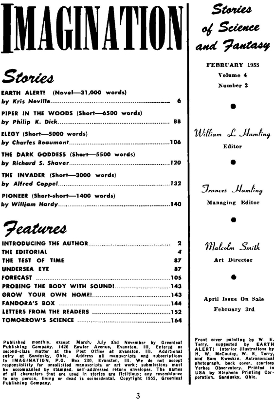 Imagination, February 1953 - table of contents (includes Piper In The Woods by Philip K. Dick)