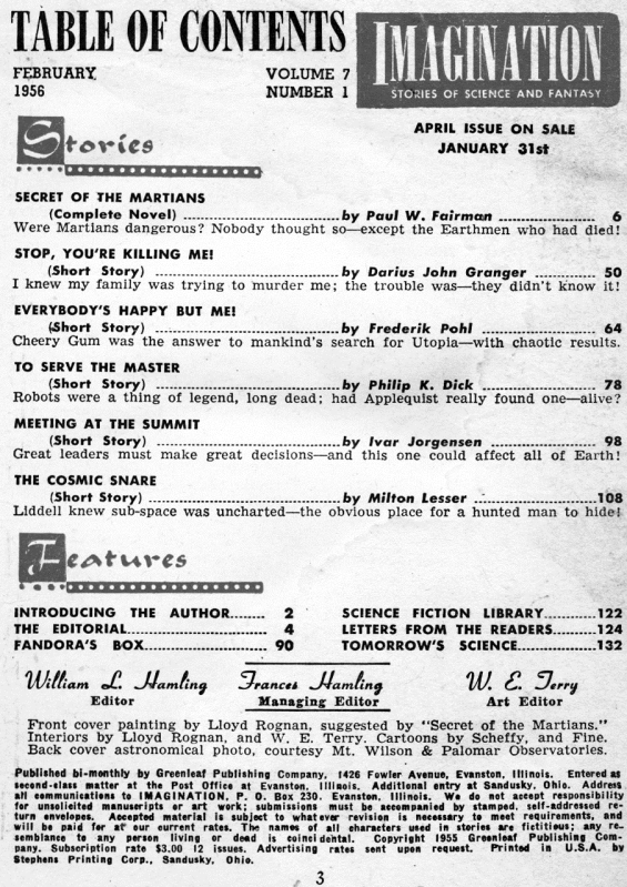 Imagination, February 1956 - table of contents (includes To Serve The Master by Philip K. Dick)