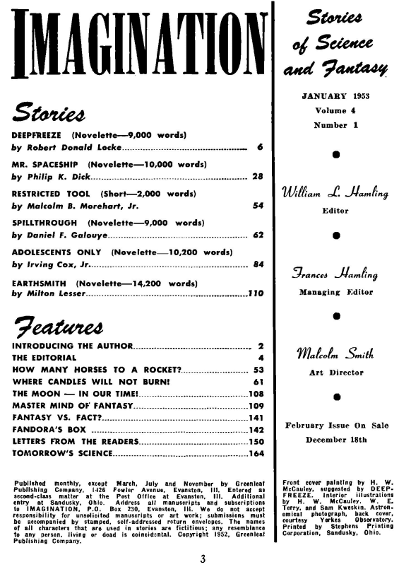 Imagination, January 1953 - table of contents (includes Mr. Spaceship by Philip K. Dick)