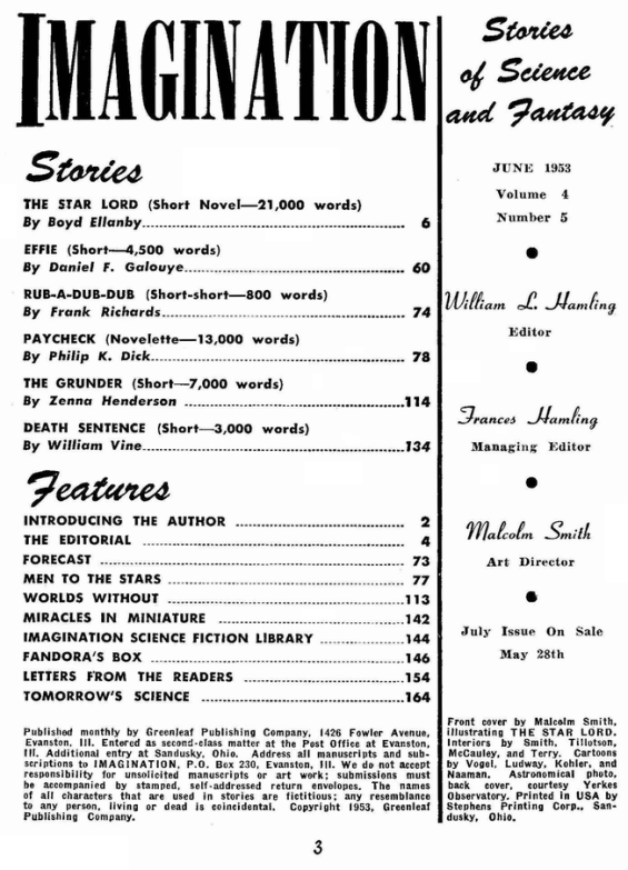 Imagination, June 1953 - table of contents (includes Paycheck by Philip K. Dick)