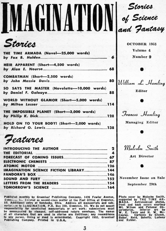 Imagination, October 1953 - table of contents (includes The Impossible Planet by Philip K. Dick)