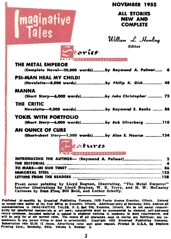 Imaginative Tales, November 1955 - table of contents (includes Psi-Man Heal My Child! by Philip K. Dick)