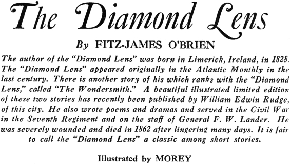 Introduction to the October 1933 issue of Amazing in which The Diamond Lens was published