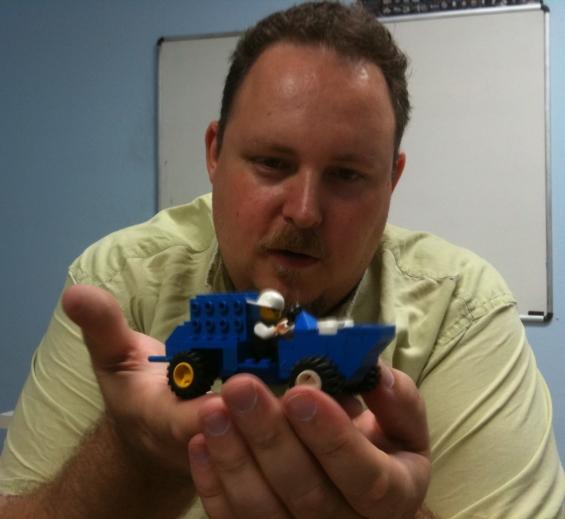 Jesse with Lego sculpture