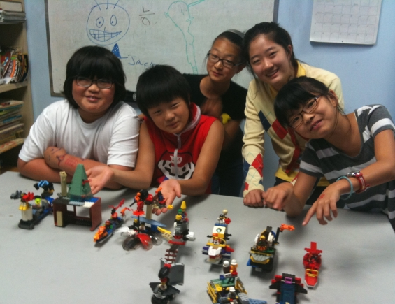 Jesse's students with an afternoon of LEGO creations