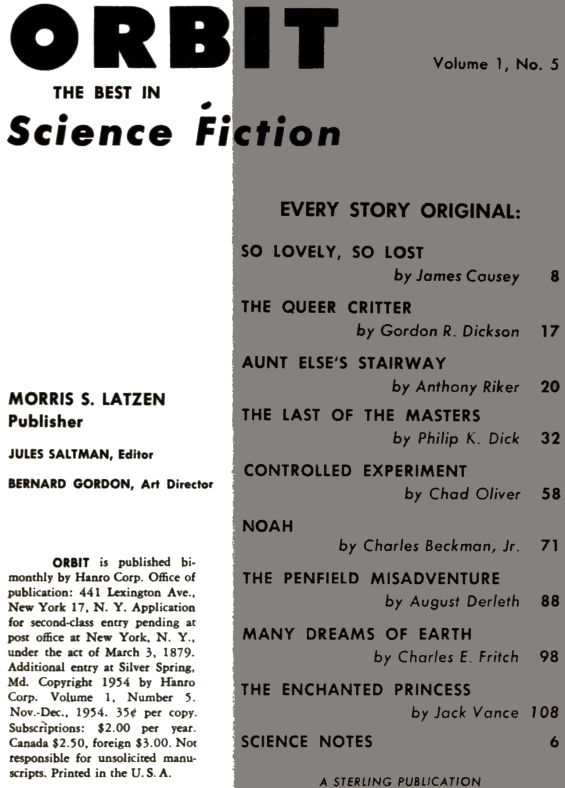 ORBIT Science Fiction No. 5 - Table of contents (includes The Last Of The Masters by Philip K. Dick)