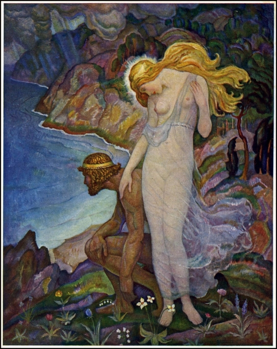 Odysseus and Calypso - illustration by N.C. Wyeth