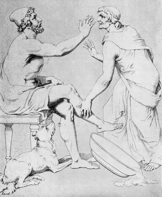 Odysseus and Euryclea by Christian Gottlob Heyne