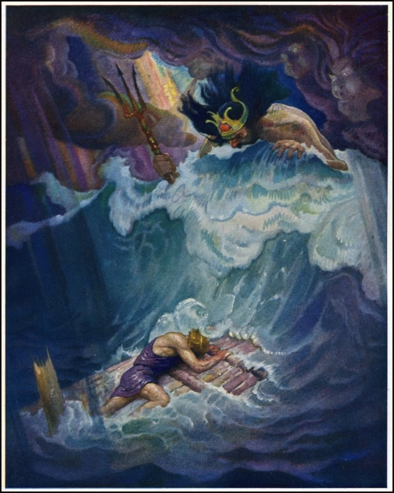 Odysseus and the raft - illustration by N.C. Wyeth